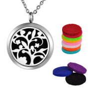 Aromatherapy Oil Diffuser Necklace Locket Pendant, Hollow Tree of Life, Stainless Steel, Silver