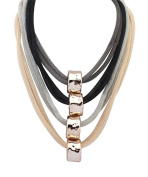 Womens Multilayer Rolling Round Cask Pendant Statement Chunk Collar Necklace Gold