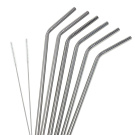 6Pcs Stainless Steel Curved Drinking Straws Set + 2Pcs Cleaning Brushes