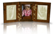 NEW BABY WALNUT PICTURE FRAME FOOT & HAND PRINT CLAY CASTING KIT LOVELY GIFT