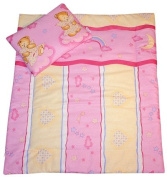 Pink teddy Moses basket, crib, buggy baby bedding set
