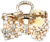 Manufacturer2 Rhinestone Pearls Flowers Hair Claw Clip Barrette Alloy