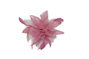 Pretty Cool - Dusky Pink Flower & Feather Comb Fascinator