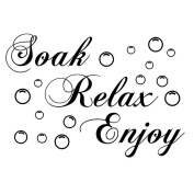 Yingwei Letter Quote Removable Wall Stickers for Bathroom - Soak,Relax,Enjoy