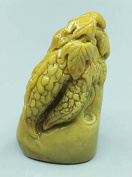 Easyou Custom Seals for Calligraphy Painting Handmade of Yellow Stone Customised Stamp with Balsam Pear Sculpture