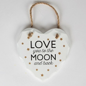 I love you to the Moon and Back Heart White Wooden Plaque - Golden Stars