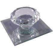 Silver Sparkle Lines Glass Diamond Single Tealight Holder - Clear