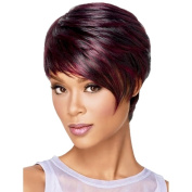 Gracefulvara Red Afro Short pixie cut style wig with bangs straight Synthetic