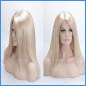 613# blonde human hair full lace wig 25cm