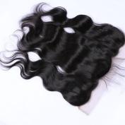 Derun Hair Beauty Natural Black Colour 41cm Inch Virgin Human Hair Size 33cm x 10cm Bleached Knots Body Wave ear to ear silk base Frontal closure