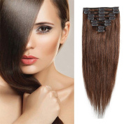 Clip in 100% Remy Human Hair Extensions 25cm - 60cm Grade 7A Quality Full Head 8pcs 18clips Long Soft Silky Straight for Women Fashion 60cm / 60cm 110g , #4 Medium Brown