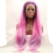 fashion wig Kylie Jenner Straight Lace Front Wig Ombre purple to Pink Synthetic Hair Wigs Heat Resistant Fibre