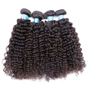 BLY Mixed-Length 18 20 22 60cm Unprocessed Peruvian Virgin Curly 4 Bundles,95-100g/Bundle 6A Natural Black Colour Weft Virgin Human Hair Weave