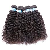 BLY Mixed-Length 18 20 22 60cm Unprocessed Peruvian Virgin Curly 4 Bundles,95-100g/Bundle 6A Natural Black Colour Weft Virgin Human Hair Weave