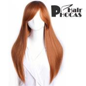HairPhocas® Medium Long Midsplit Bangs Black to Brown Curly Hair For Full Hair Wigs