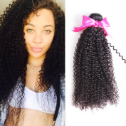 Jaja Hair Virgin Brazilian Kinky Curly Hair Weft 3 Bundles Unprocessed Virgin Curly Natural Black Colour Hair Extensions Human Hair no tangles 14 16 46cm