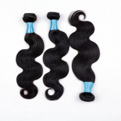 BLY Mixed Length 20 22 60cm 3 Bundles Virgin Malaysian Human Hair Body Wave Remy Hair Extensions Weft Weave Natural Black Colour,95-100g/bundles Grade 6A