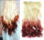 White Blonde to Auburn Two Colours Ombre Hair Extension, Synthetic Hair extensions UF270
