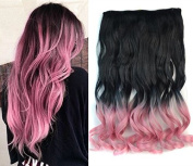 50cm Curly Black to Pink Two Colours Ombre Hair Extensions, One Piece Full Head Hair Weft RHS611