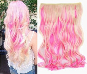 White Blonde Mixed Pink Two Colours Ombre Hair Extension, Synthetic Hair extensions UF267