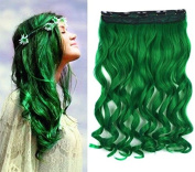 Forest Green Solid Colour Hair Extension, Synthetic Hair extensions UF261