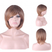 """Rise World 13 """" 32 cm Women's Short Wavy Oblique Bang Full Hair Wig Two Tone Dark Brown Root to Light Brown Ombre"""