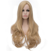 Flovex Long Wavy Blonde Wigs Sexy Natural Culry Costume Hair with Wig Cap