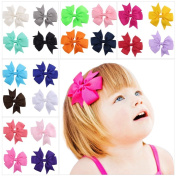 EagleUS 40pcs of 20 Colours Baby Ribbon Bow Barrettes Hair Accessories Hairpin for Girls Kids Children