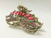 Large Size Vintage Metal Alloy Tulip Flower Jaw Claw Hair Clip with Rhinestone and Beads Accents, Bronze