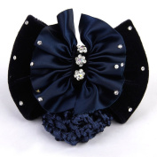 Phenovo Professional Career Headdress Rhinestone Bowknot Hairpin Dark Blue