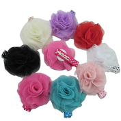 XIMA 5.1cm Mesh Flower Attached 4.6cm dot Lined Alligator Hair Clips, Girls Hair clips, Hair Accessories