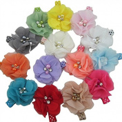 XIMA 14colors Chiffon Hair Flower with 4.6cm Lined Alligator Hair Clips, Girls Hair Clips, Hair Accessories