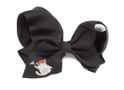 Feline Frenzy Cat Hair Bow, Black with Sports Cat