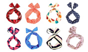 M-Aimee Pack of 8 Wired Hair Tie Twist Bow Headband Headwear Scarf Wrap Accessory Lot for Lady Girls Women