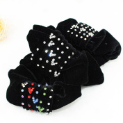 Lovef 4pcs Black Women Girl Large Velvet Hair Scrunchie with Rhinestone Crystal Elastic Hair Band Ponytail Holder Tie Accessories