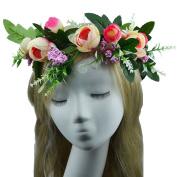 Handmade Rose Fashion Flower Wreath Crown Garland for Wedding Travel Festivals