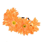 Exquisite Daisy Flower Crown with Adjustable Ribbon for Wedding Festivals