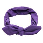 AENMIL Rabbit Ears Cotton Hair Band Europe Retro Wash Makeup Headband Accssories - Purple