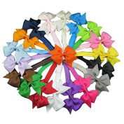 XIMA Grosgrain Hair Bows with Baby Headbands Cheer Leading Hair Bows for Girls Headbands Pack of 18