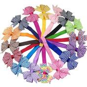 XIMA Chevron Bows Headbands Baby Girls Heabands with 7.6cm Cheer Leading Bows 16pcs
