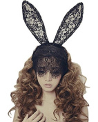 Bunny Rabbit Ears Venetian Filigree Lace Veil Costume Masquerade Mask Hairband