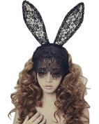 Bunny Rabbit Ears Venetian Filigree Lace Veil Costume Masquerade Mask Hairband