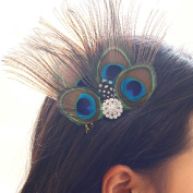 Aukmla Peacock Feather Fascinator Headband, Fascinator Headpieces for Fancy Party
