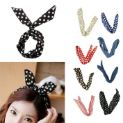 M-Aimee Pretty Cute 12pcs /lot Different Colours Rabbit Bunny Ear Girl Hair Headband Scarf DIY Wire Band Bow Head Wrap Assorted Colours