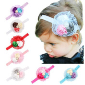 Efivs Arts 8Pcs Baby Girl's Elastic and Rocebud Lace Headbands