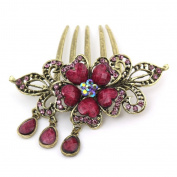 Flower Shaped Vintage Hair Accessories Rhinestone Turquoise 5-Toothed Alloy Decorative Hair Combs Jewellery CS11 Fuchsia
