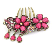 Flower Shaped Vintage Hair Accessories Rhinestone Turquoise 5-Toothed Alloy Decorative Hair Combs Jewellery CS10 Pink