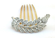 Leaves Shaped Hair Accessories Rhinestone Alloy 5-Toothed Decorative Hair Combs Jewellery CS08 White