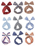 Cloris Twist Bow Wired Headbands Scarf Wrap Hair Accessory