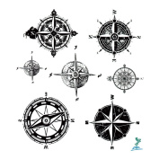 Yeeech Temporary Tattoo Paper Compass Black for Men Women